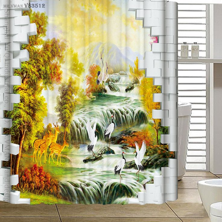 180x180cm Polyester Shower Curtain 3D wall paintings Waterfall Bath Scenery Waterproof Bathroom Curtain Cortina De Bano #Affiliate