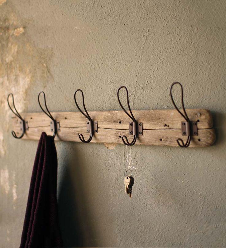 Recycled Wood Wall-Mount Coat Rack www.windandweather.com