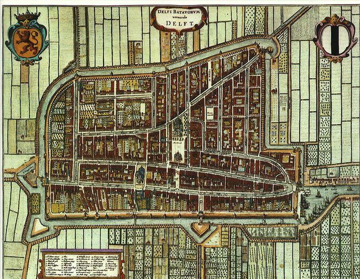 Delft, plattegrond uit de Middeleeuwen