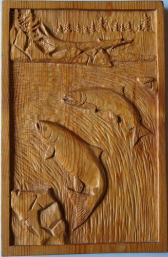 Salmon relief carving wildlife wood carvings pinterest