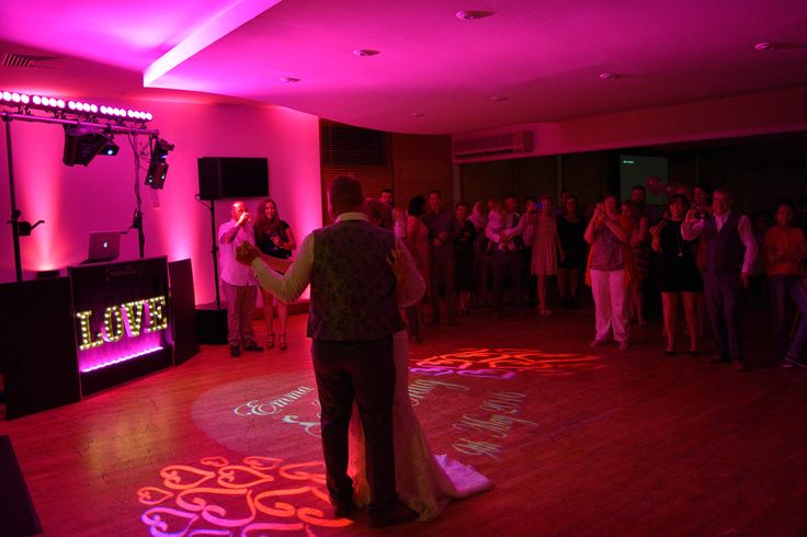 A beautiful first dance with love heart and names projected onto the dancefloor - DJ Martin Lake