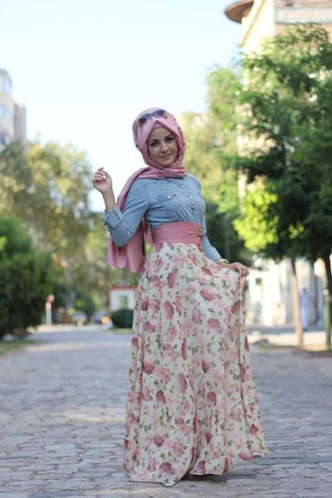 Turkish Style Spring hijab jean button floral pink and blue