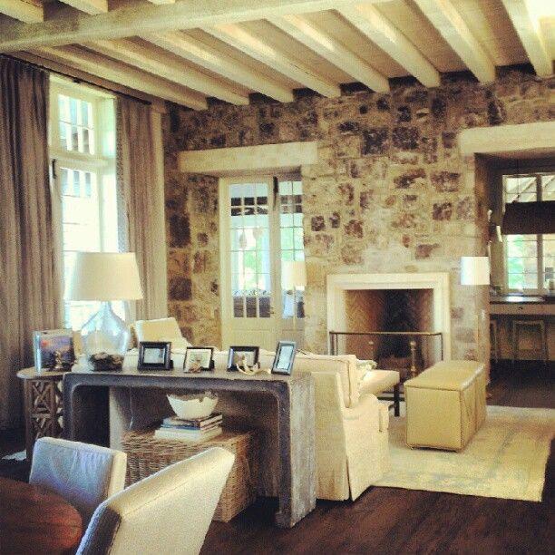 Lake Martin, Alabama home - Bill Ingram - limestone mantel with stone surround - rumford fireplace
