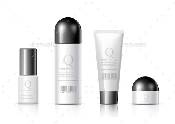 Set of Realistic Cosmetic Bottles
