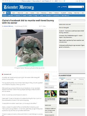 Leicester Mercury  http://www.leicestermercury.co.uk/Claire-s-facebook-bid-reunite-loved-bunny-owner/story-20483403-detail/story.html