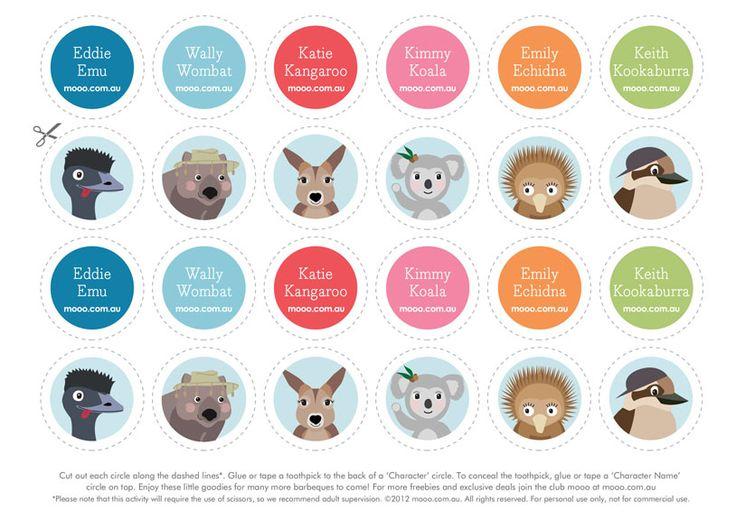 Mooo Bush Buddies Toppers :: Free Printables :: Mooo.com.au