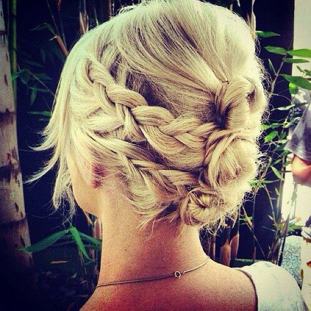 triple back bun, super cute!Hairstyles, Wedding Hair, Shorter Hair, Bridesmaid Hair, Shorts Hair, Dutch Braids, Hair Style, Braids Hair, Braids Buns