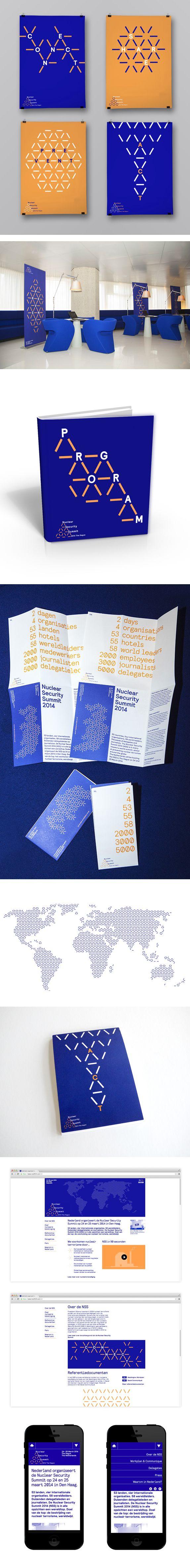 Identity for The Nuclear Security Summit 2014 designed by Lava. Het huidige ontwerp ontstond na het bestuderen van de schematische weergaven van atomen. Er werd een grid gecreëerd dat naar atoomverbindingen refereert en waar op een subtiele wijze het nucleaire icoon in verwerkt is.