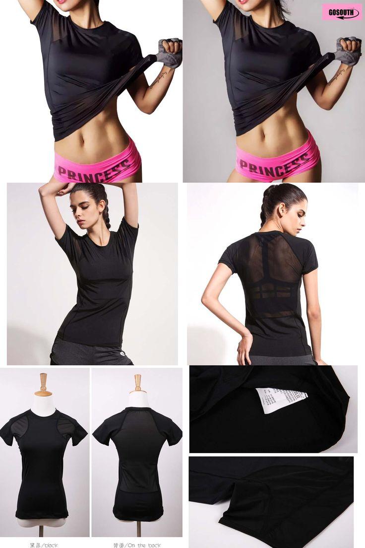 [Visit to Buy] 2016 Black  Yoga shirt Running  tighs Women  Sport  Short Sleeve  Fitness T-Shirts Ladies Sportswear Quick  Dry Clothing #Advertisement
