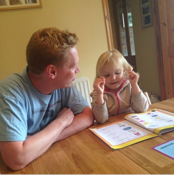 Daddy is helping with #summerwithgoldstars today.