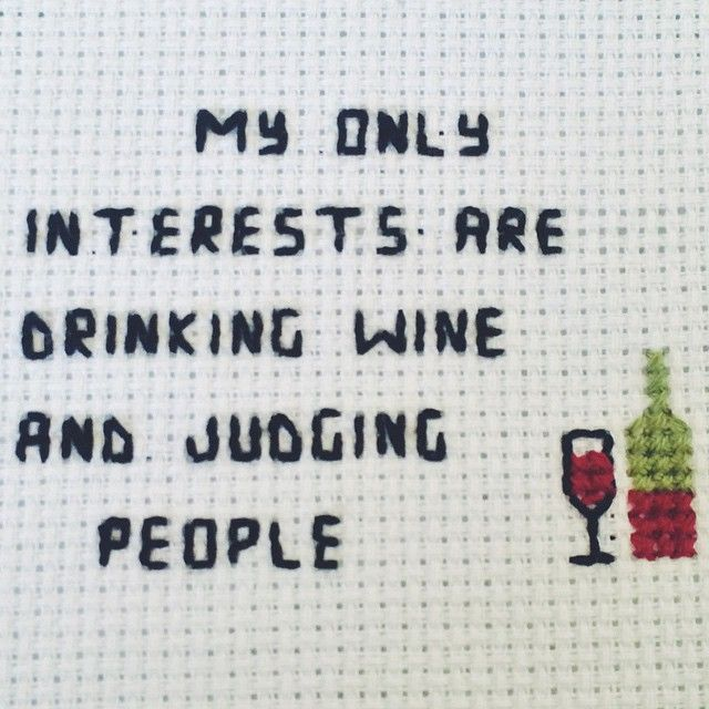 Cross stitch. Wine