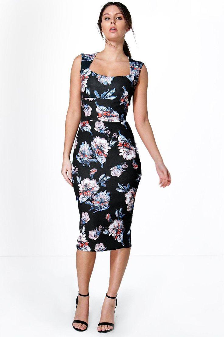 Karina Floral Print Sweetheart Midi Bodycon Dress