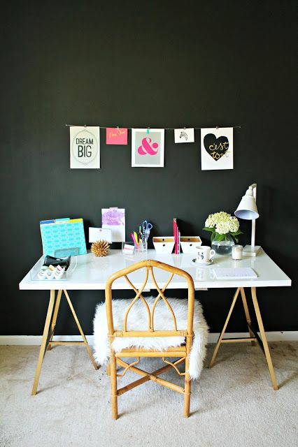 black wall + white furniture make for a dramatic combination