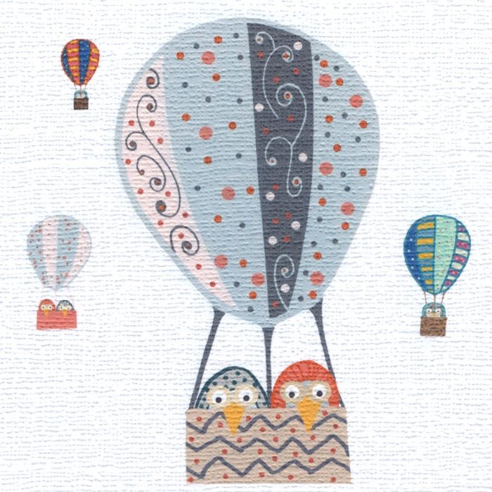 """""""Balloon Owls"""" Makes a great wedding or engagement card, unless you know owls who go ballooning. Blank inside"""