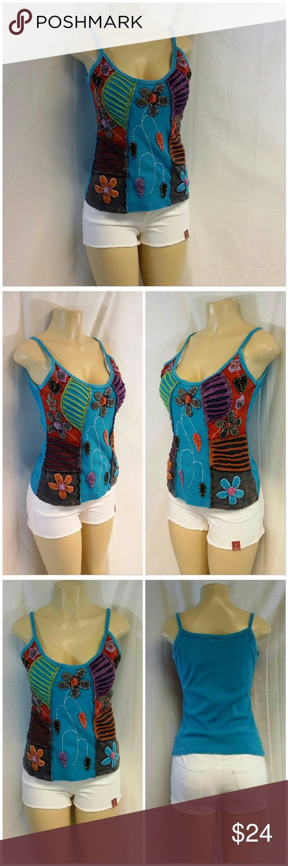 """RISING INTERNATIONAL Unique 2-D Fancy Top Large RISING INTERNATIONAL Unique 2-D Fancy Top, size Large, rib knit with 2-D application, exposed stitching around applications, lots of colorful designs including but not limited to flowers and tear drops, very stretchy, machine washable, cotton blend, 23 1/2"""" length shoulder to hem, 18"""" bust laying flat Rising International  Tops"""