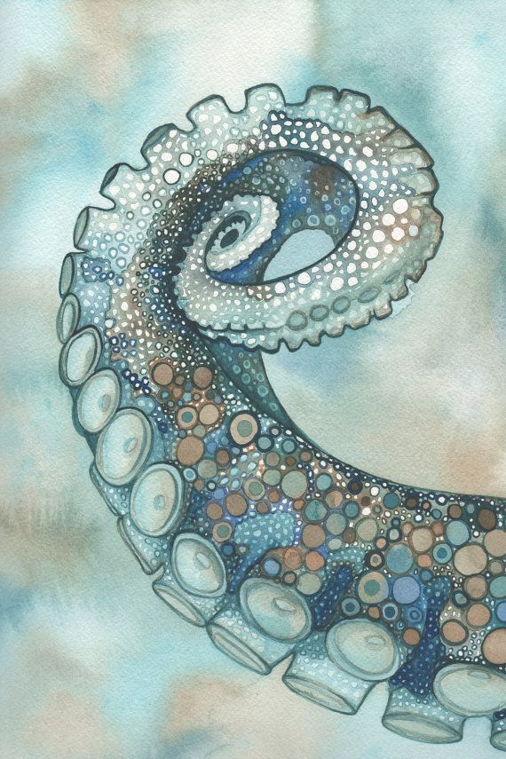 Octopus tentacle arm 4 x 6 print of hand painted detailed watercolour artwork in whimsical turquoise brown earth tones. $5.00, via Etsy.