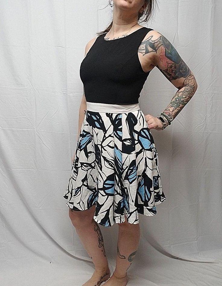 ABS ALLEN SCHWARTZ Fit Flare Black White Blue ASOS Party Dress Pocket Women 10 #ABSbyAllenSchwartz #SkaterDress #AnyOccasion