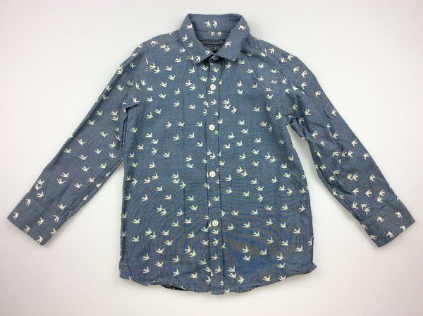 Next, boy's long-sleeved blue shirt with white birds, excellent pre-loved conditoin (EUC), size 4, $11  #shirts #secondhandclothes #kidsfashion #boysfashion #daisychainclothing