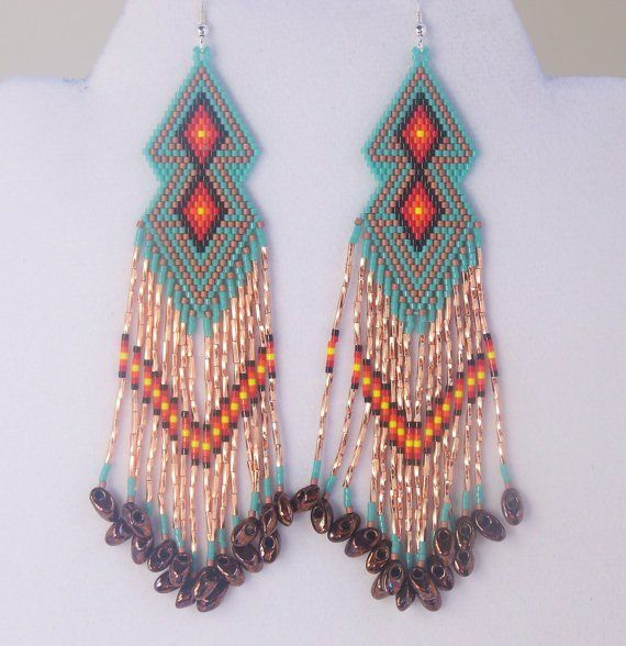 Southwestern Native American Beaded Double Diamond Shaped Earrings in the Colors of Arizona. Turquoise, Copper, Sterling Silver Earwires by LJ Greywolf These beaded double diamond shaped dangle earrin
