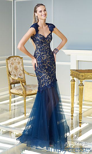 Floor Length Lace Dress with Cap Sleeves at SimplyDresses.com