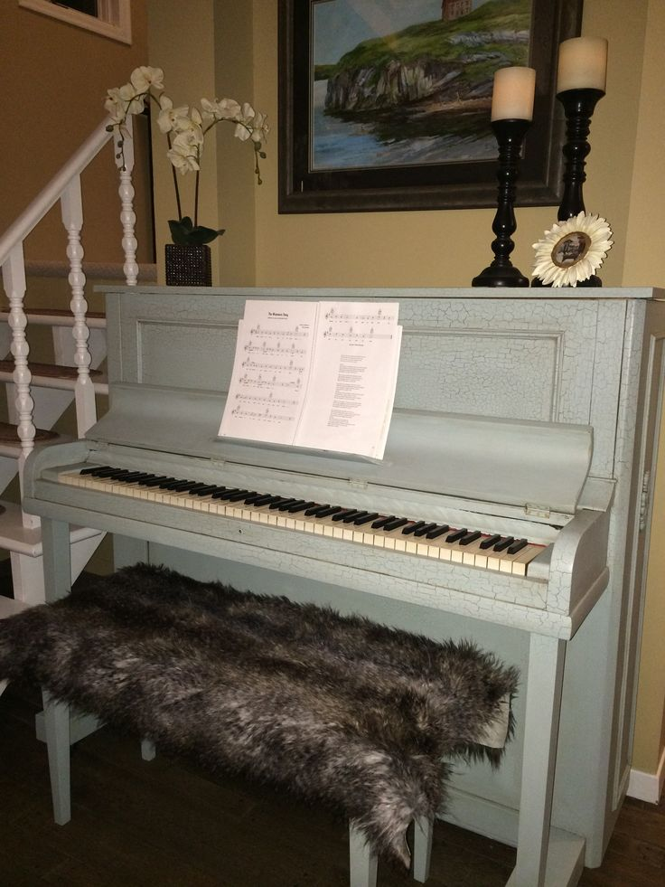 From an old, rundown piano to something a little more FUN!  #RefinishedPiano #ChalkPaint