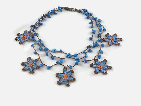 Crochet Star Necklace Layered Necklace  Crochet Beaded by Nakkashe