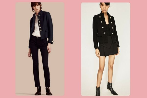 Burberry Regimental Technical Wool Cotton Jacket (€725) vs. Zara military blazer (€49,95)