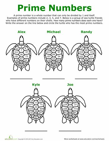 Prime Number Turtles   Prime numbers, Worksheets and Math
