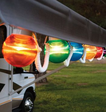 RV Awning Globe Light - Multi Color   Camping Globe Lights offers you more light and style to your RV.  Camping at night by the campfire is fun, but when the family feels like playing some games or just sitting around then light it up with our selection of RV Awning globe lights. These camping lights are weather resistant and come in either 6 pack or 10 pack, we also carry all the hooks and hangers you need to install with ease to your awning.   6-Light set extends up to 25'.    Features…
