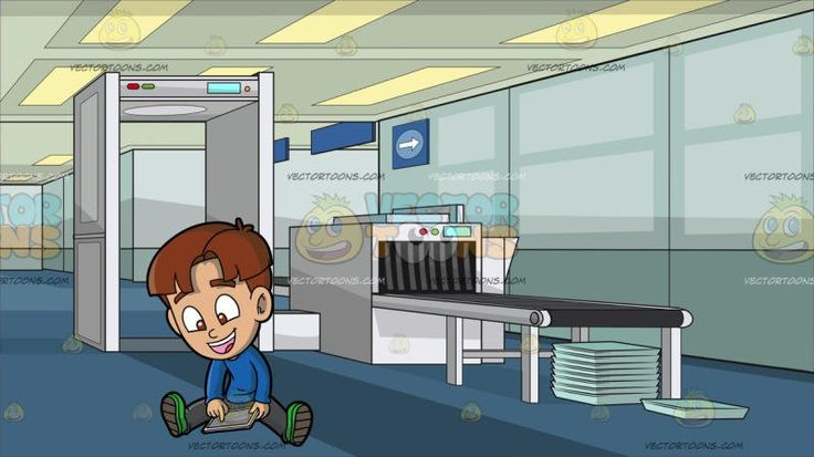 A Happy Boy Playing An App On His Mobile Tablet At Airport Security Check:  A boy with brown hair wearing a blue sweatshirt gray pants green shoes parts his lips to smile in delight as he spreads out his legs while sitting on the floor while playing a game on his white mobile tablet. Set in an airport security check with a white metal detector luggage scanning machine with a gray conveyor belt light teal trays stacked in top of one another blue carpet paneled ceiling.