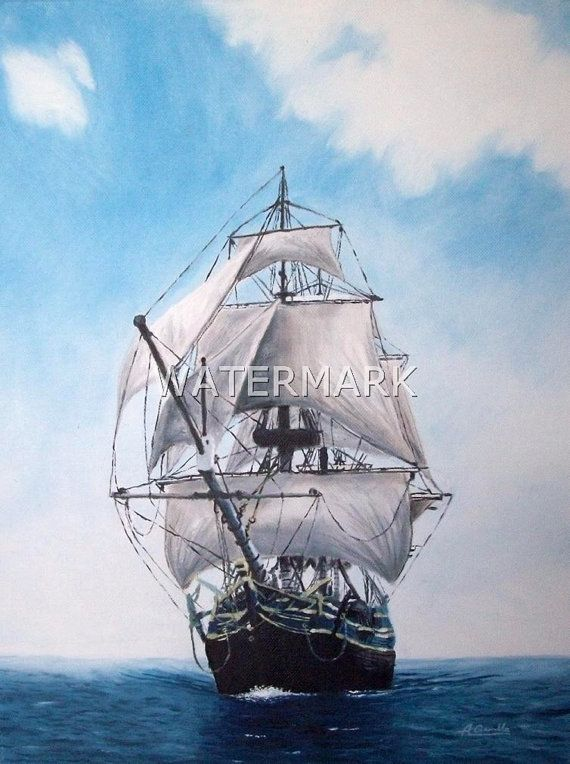 Ship, original oil painting on canvas 18x14inch. FREE SHIPPING $400.00 USD