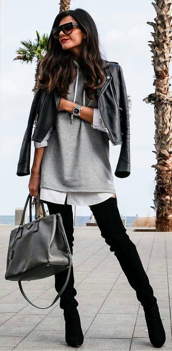 #winter #fashion /  Black Leather Jacket + Grey Dress