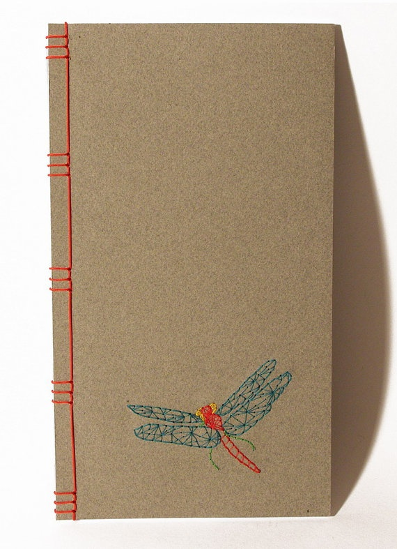 Embroidered Notebook / Dragonfly, via Etsy.