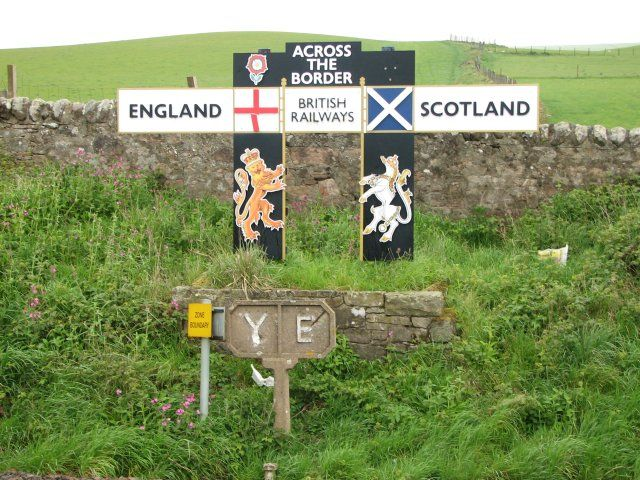 England - Scotland border - geograph.org.uk - 477405 - Anglo-Scottish border - Wikipedia, the free encyclopedia  A sign marking the border on the East Coast Main Line railway