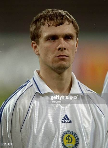 Portrait of Sergi Rebrov of Dynamo Kiev before the Champions League game against Bayern Munich at the Olympia Stadion Munich Germany Bayern Munich...