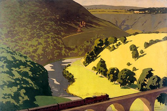 A painting of the Hogwarts Express before it was the Hogwarts Express!   1930s London, Midland & Scottish Railway   by Norman Wilkinson
