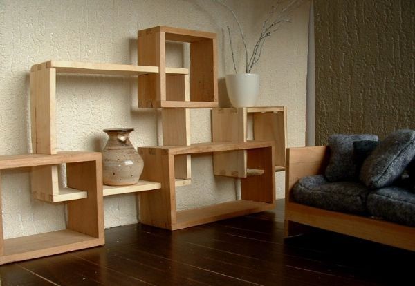biblioth que modulable en bois massif par sarahlalala cubes. Black Bedroom Furniture Sets. Home Design Ideas