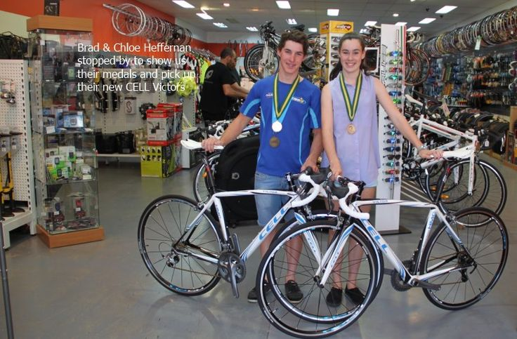 Brad and Chloe Heffernan stop by to pick up their new CELL Carbon Victors and to show us their medals! (ooh, shiny!)