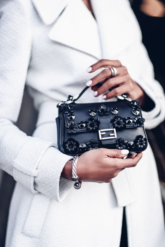 VivaLuxury - Fashion Blog by Annabelle Fleur: TRENCH DRESSING - A.L.C. Richard belted textured coat & Jamie lace-trim ponte mini dress | FENDI Baguette micro double-sided floral crossbody bag | Gucci heels | DITA sunglasses | DAVID YURMANOsetra Collection green onyx hoop earrings & Garnet bracelet  November 22, 2016