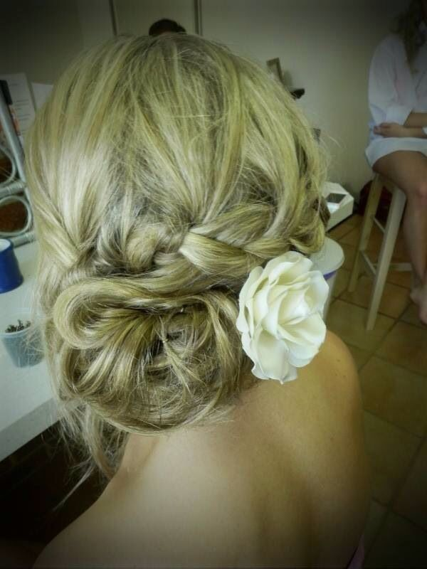 Wedding Hair. Loose Messy Side Bun With Braid | My Wedding | Pinterest | Flowers For Prom Buns ...