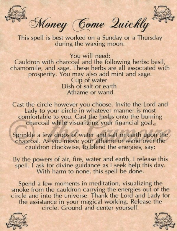 Money Come Quickly Spell, Book of Shadows Pages, Real Magic, Wiccan, Witchcraft picclick.com