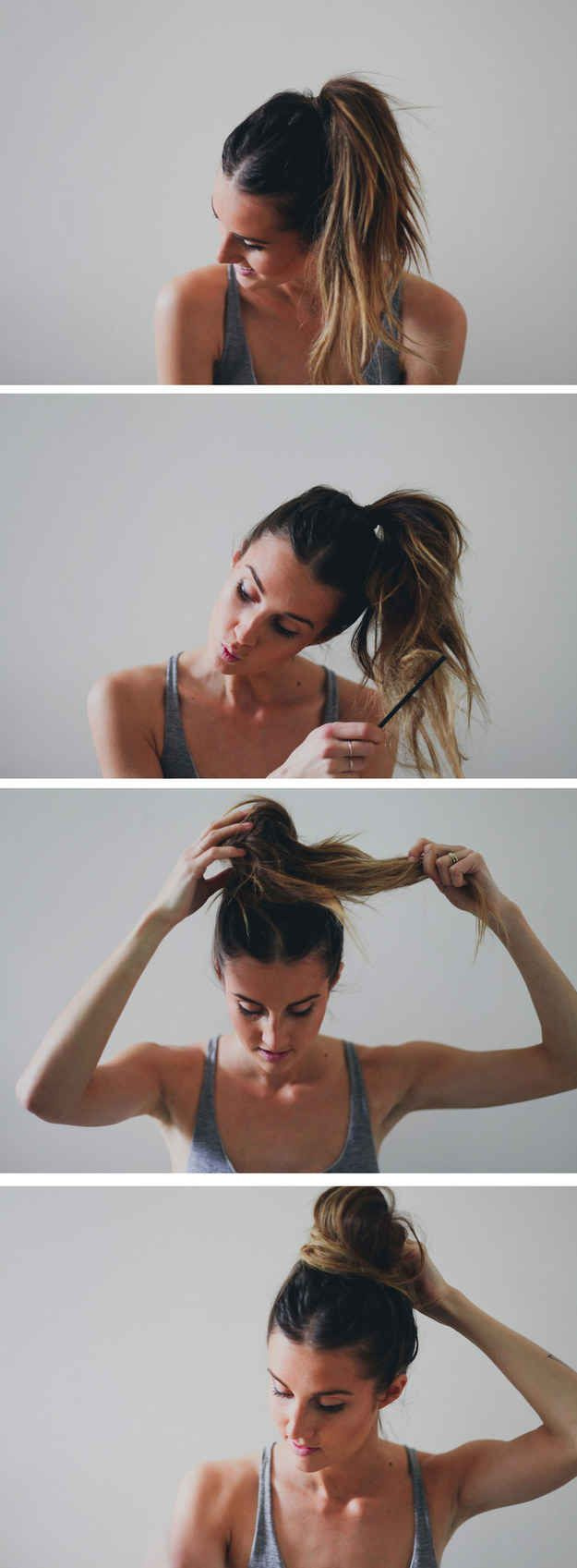 6. Or just throw it in the perfect Top Knot with this easy tutorial | The Lazy Girls Guide To Perfect And Easy On-The-Go Beach Hair