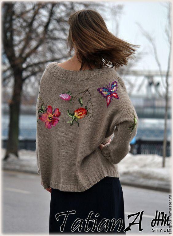 """Купить Кашемировый свитер ручной работы """"Прилечу к тебе на крыльях весны...."""" - разноцветный, кашемир"""