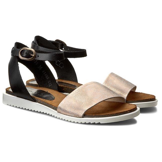 Sandały NESSI - 63905 Czarny 11/Miedź Rs