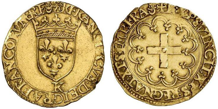 AV Goldgulden. Germany Coins, Ausburg, Free city. Title of the Emperor Karl V. 1519-1558. 3,26g. F 23. Better than VF. Price realized 2011: 700 USD.