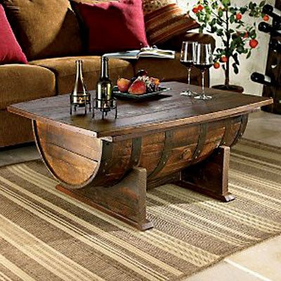 Oak Barrel Coffee Table.