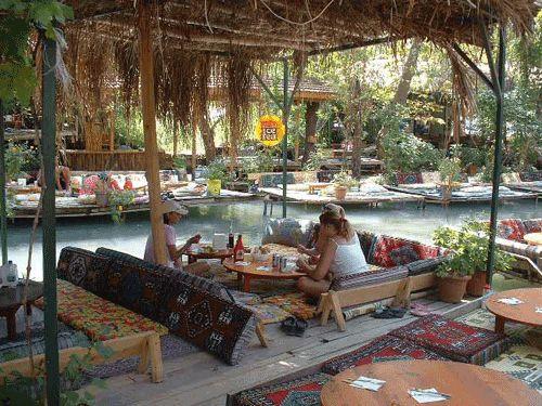 Saklikent gorge river cafes in Fethiye, Turkey