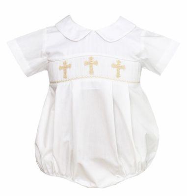 ef5d2b8c8 Petit Bebe by Anavini Baby Boys Ivory Poplin Smocked Easter Crosses ...