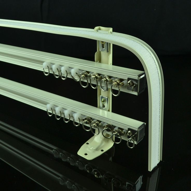 CHR8124 Ivory Triple Curtain Tracks with Valance Track Wall Mount Curtain Rails