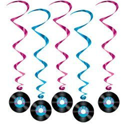 29 -  Rock N Roll Hanging Whirls. Pack of 5 Hanging Decoration Whirls Rock N Roll (Approx 100cm Drop)